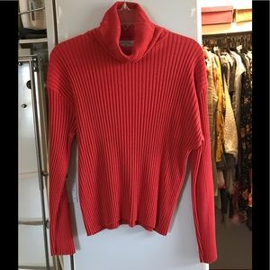 Sweaters - Orange Ribbed Turtleneck Sweater